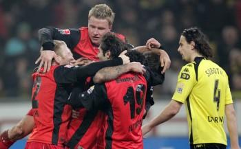 Daran denkt Franz noch heute gern zurück: Der 3:2-Sieg in Dortmund - hier wurde der Siegtreffer von Alex Meier bejubelt