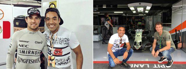 "Links: Frankfurts Fabian (r.) mit ""Formel 1""-Pilot Perez. Rechts: Fabian (l.) und Abraham beim Boxenstopp (Fotos: facebook.com/MarcoFabian10)"