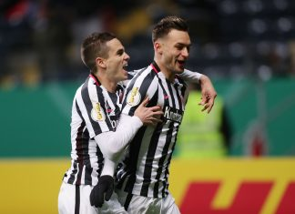 Bejubelten den frühen Führungstreffer für die Eintracht: Gacinovic (li.) und Blum (re.)